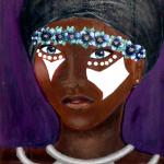 "Divine, ""Violet,"" acrylic on panel, 15.75"" x 12"""