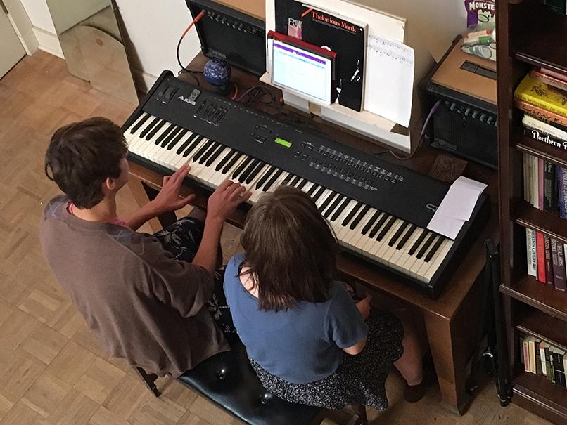 KBMP students on Kent's keyboard.