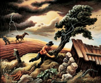 Thomas Hart Benton (American, 1889–1975), The Hailstorm , 1940 tempera on  canvas mounted on panel, 33 x 40 inches, 83.82 x 101.6 cm