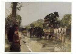 April Showers, Champs Elysees, Paris Postcard