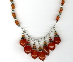 Carnelian Dangle Necklace by Bev Muffly