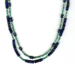 Turquoise and Lapis Necklace by Bev Muffly