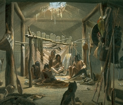 The Interior of the Hut of a Mandan Chief