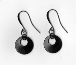 Black Circle Earrings by Darcy Horn