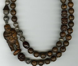 Japanese Wood and Silver Necklace