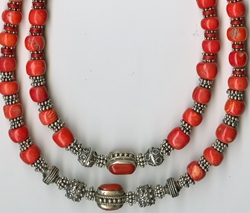 Coral and Silver Necklace by Lynn Soloway