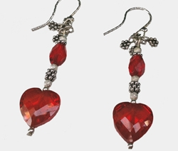 Red Crystal Heart Earrings by Lynn Soloway