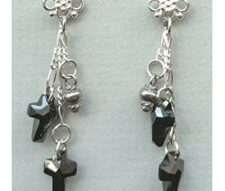 Black Crystal Chain Earrings by Lynn Soloway