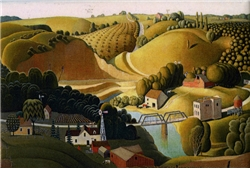 Grant Wood's Stone City, Iowa Magnet