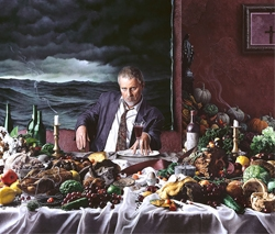 Self-Portrait with Wine Glass (Gluttony) by Kent Bellows