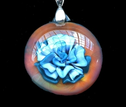 Orange Glass with Blue Flower Pendant by Thomas and Alyson Friedman