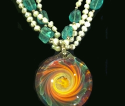 Apatite and Pearl Necklace with Glass Pendant by Thomas and Alyson Friedman
