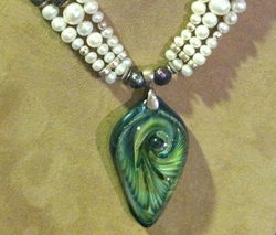 Pearl and Glass Pendant by Thomas and Alyson Friedman