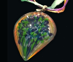 Turquoise, Blue & Violet Glass Pendant by Thomas and Alyson Friedman