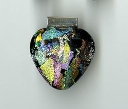 Black Dichroic Glass Pendant & Earring Set by Beth Brown-Gershovich