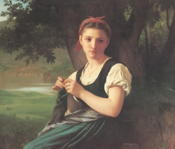 William Bouguereau's The Knitting Girl Poster